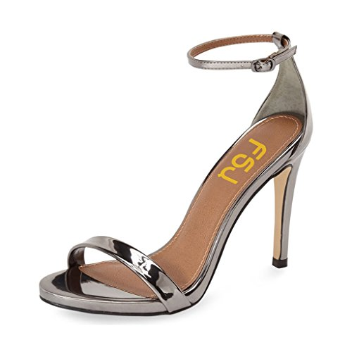 FSJ Women Basic High Heel Sandals With Open Toe Ankle Strap Party Prom Dancing Shoes Size 4-15 US Silver-grey