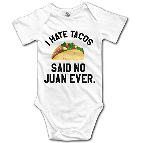 Taco Suit (Dream-R I Hate Tacos Said No Juan Ever Newborn Babys Boy's & Girl's Short Sleeve Jumpsuit Outfits For 0-24 Months White Size 6 M)