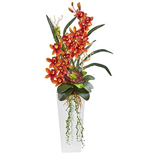 - Nearly Natural 1774-BG 3-Ft. Cymbidium Orchid and Succulent Artificial Silk Arrangements Burgundy