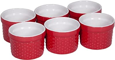 Durable Oven to Table 6 Piece Hobnail Porcelain, Ramekin, Souffle' 4 Oz. Dish (Red)