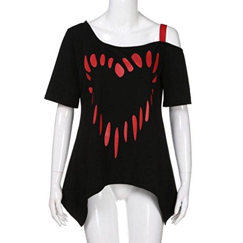 Hombros Mujer Verano Tallas Manga Sin Blusa Grandes Corta Familizo Elegante Fiesta Camisetas Camiseta Negro Algodón PUnqHqa5Tw