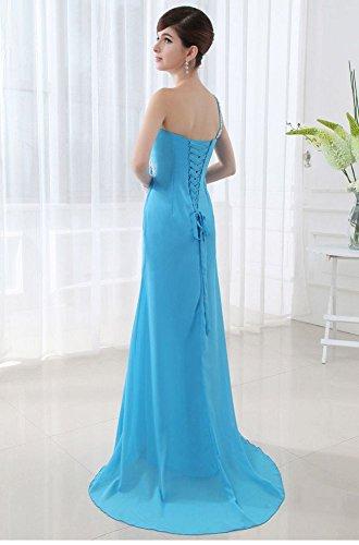 One Emily Beauty offene Blau lange Abendkleider Chiffon Shoulder H5TwRvTq
