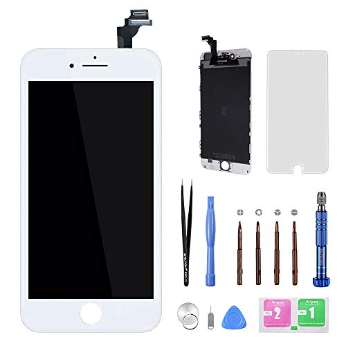 for iPhone 6 Plus Screen Replacement LCD Display Touch Screen Digitizer Frame Assembly Full Set with Free Disassemble Repair Tools Kits Professional Glass Screen Protector (White, 6Plus) (Replacement Screen Touch Digitizer)