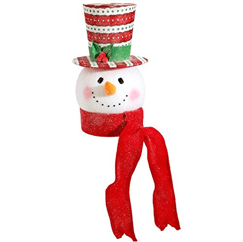 Raz Imports Everything Merry Snowman Head Holiday Tree Topper 14.5