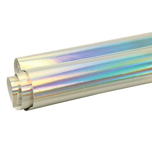 HOHOFILM láser holográfico Cromo Coche Coche Vinilo Wrap última intervensión de Burbujas película Adhesiva, Plateado,...