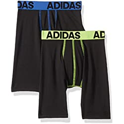 adidas Boys / Youth Sport Performance Climalite Midway Long Boxer Brief Underwear (2-Pack), Blue/Black/yellow/black, Large