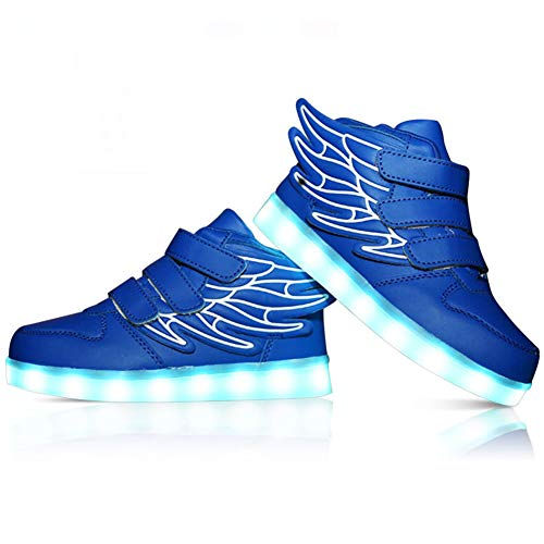 273bf470cf20b RioRand Kids Lights Up Sneakers Boys Girls Flashing Rechargeable Dance  Shoes Athletic Wings Fashion High Top 7 Colors LED Shoes Blue