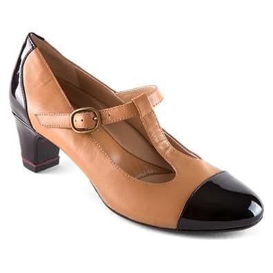 Amazon.com   Oh! Shoes Women's Heather Cognac/Black Napa
