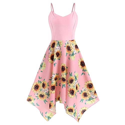 Kulywon Plus Size Fashion Womens Sunflower Print Asymmetric Camis Handkerchief Dress Pink
