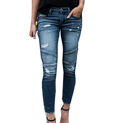 Pantalones Casual S De Cintura Streetwear Fit Casuales Mujeres Denim Mediados 2xl Hellblau Destruido Rasgado Slim Flaco Moda Para Estirar Novio Battercake Jeans wAzFqSx4wT