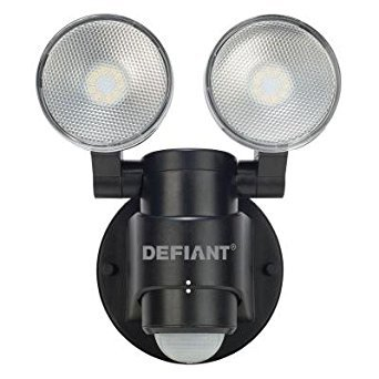(Defiant DFI-5936-BK 180-Degree 2-Head Outdoor Motion Activated Black Flood Light)