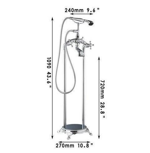 GOWE Bathtub Torneira Bathroom Chrome Floor Mounted Shower Set Double Handles Vessel Vanity Basin Sink Faucet,Mixer Tap 1
