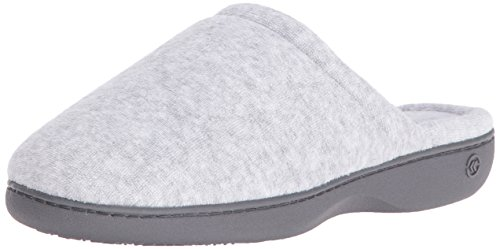 (Isotoner Women's Classic Terry Clog Slippers Slip on, Heather Grey, Large / 8.5-9 Regular)