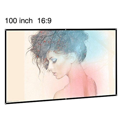 EUG Portable Projector Screen 100 Inch 16:9 Widescreen Matte White Foldable Projection Screen for Home Cinema Meeting Presentation Teaching