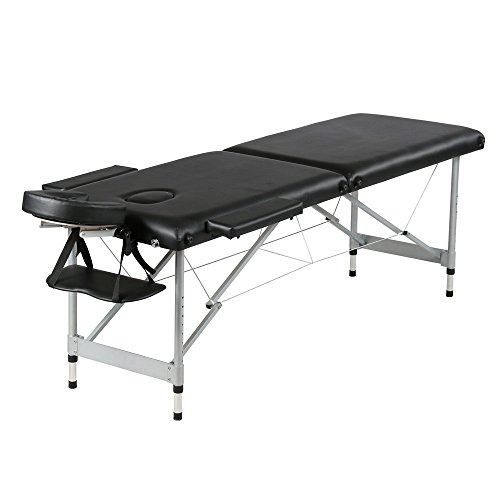 Mefeir 84'' Professional Portable Folding Massage Table Package w/Free Carry Case Aluminum Frame Lightweight Salon Spa Bed with Face Cradle(Aluminum Leg - 2 Fold - Black)