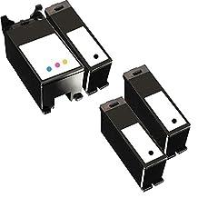 4 Inkfirst® Ink Cartridges Series 21 22 23 24 Y498D, Y499D Compatible Remanufactured for Dell Y498D Black, Y499D Color (1 Set + 2 Black) Dell V515 P513W V715W P713W V313 V313W