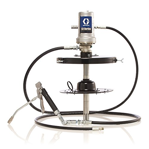 Graco 24J030 LD Series Air-Powered 50:1 Portable Grease Pump, Package for 30 lb. Drum Includes 6' Hose Kit, Follower Plate, Drum Cover, Grease Valve and Z-Swivel ()