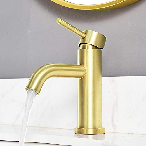 VCCUCINE Modern Brushed Gold Solid Brass Lavatory Single Hole 1 handle Bathroom Faucet, Vanity Sink Faucet With Two 3/8