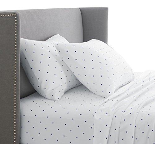 Pinzon 170 Gram Flannel Sheet Set – Queen, Navy Dot