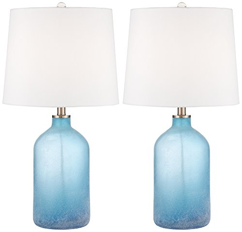 Aston Blue Frosted Glass Table Lamp Set of - Glass Lamp Glass Table
