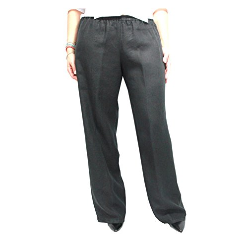 ASPESI pantalone donna nero 100% lino MADE IN ITALY