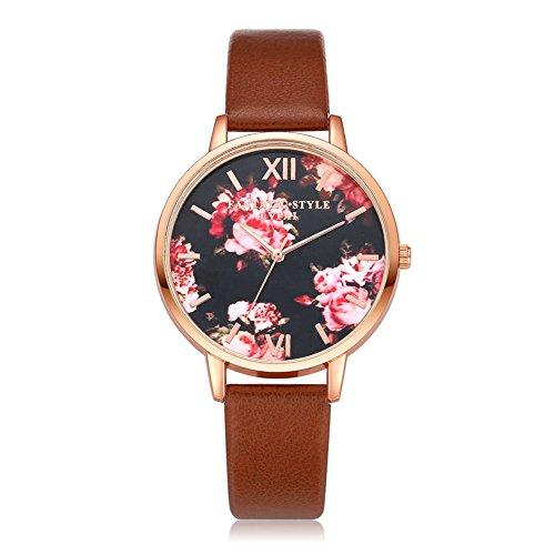 Wrisky Stainless Steel Ladies Women Flower Roman Analog Quartz Wrist Watch Gift