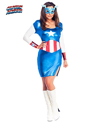Rubie's Secret Wishes Women's Marvel Universe Miss American Dream Costume Dress and Eye Mask,Multicolor,X-Small (Halloween Costumes Superheroes Couples)