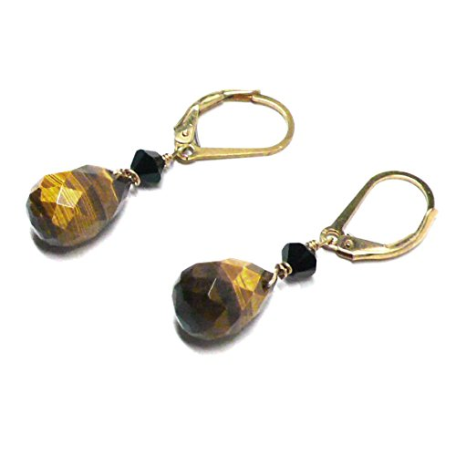 (Tiger Eye Briolette Gold-Filled Lever Back Earrings Swarovski Crystal )
