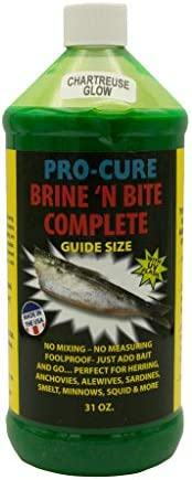Pro-Cure Brine 'N Bite Complete Bait Brine, Chartreuse Glow, 31 O