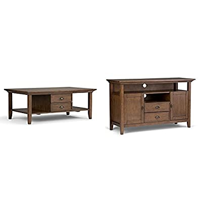 Simpli Home Redmond Coffee Table, Rustic Natural Aged Brown + Simpli Home Redmond Tall TV Media Stand, Rustic Natural Aged Brown :Bundle