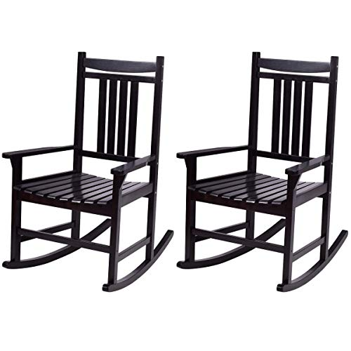 Giantex Rocking Chair Set of 2 Wood Outdoor Indoor Patio Porch Rocker for Porch, Patio, Living Room Rocking Chairs (Black)