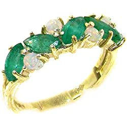 10k Yellow Gold Natural Emerald & Opal Womens Eternity Ring - Sizes 4 to 12 Available