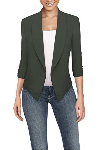 Womens Casual Work Office Open Front Blazer JK1133X Olive 1X