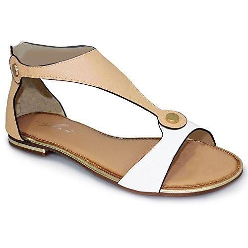 Sapphire Damen Gold Trim Zip Back Zwei Ton Farbige Damen Gladiator Sandalen Schuhe White / Nude