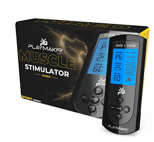 PlayMakar PRO-500 Sport Muscle Stimulator System with EMS or NMES + TENS Unit Combination, Strength & Recovery