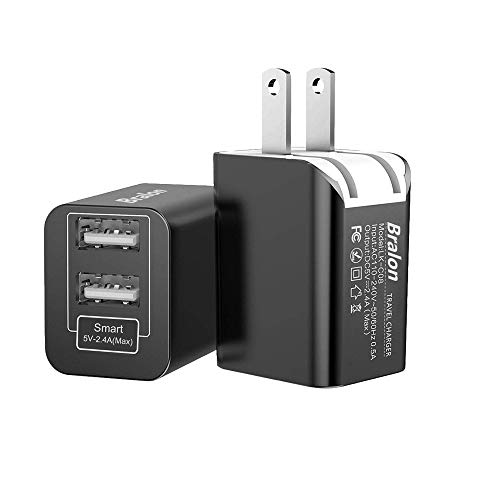 USB Wall Charger[1-Pack], Bralon 12W/2.4A Smart 2 USB Ports Wall Charger Universal Power Adapter Compatible iPhone Xs Max Xr X 8 7 6,Galaxy Note S9 S8 S7 S6,LG HTC MP3 Kindle More