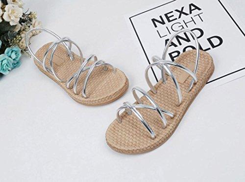 Sandales Plates Inkach Femmes - Mode Bohème Sandales Dété Bretelles Casual Chaussures Mocassins Sliver