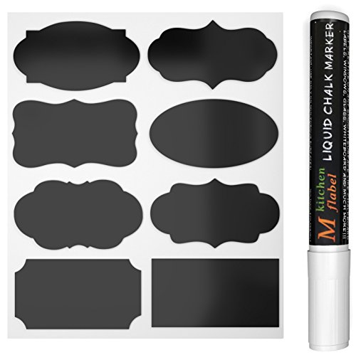 MFLABEL 48pcs Reusable Chalkboard Labels with Erasable White Smooth Liquid Chalk Marker - Premium Stickers for Jars