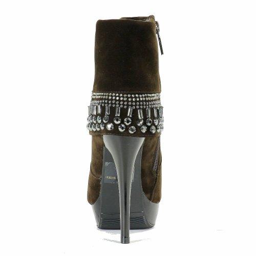 Italina Dames B-kelly Fashion Studded Vouw Enkellaars Schoenen Bruin