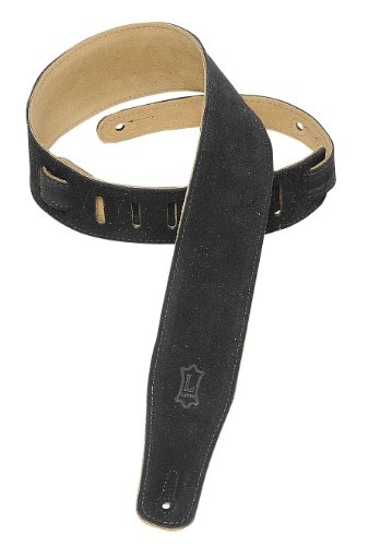 Levy's Leathers MS26-BLK 2.5-inch Suede-Leather Strap, (1/2 Suede Guitar Strap)