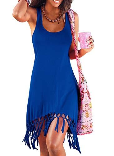 CILKOO Womens Summer Casual Sleeveless Mini Plain Pleated Racerback Tank Vest Dresses Tassel Hem T-Shirt Dress Blue US4-6 Small
