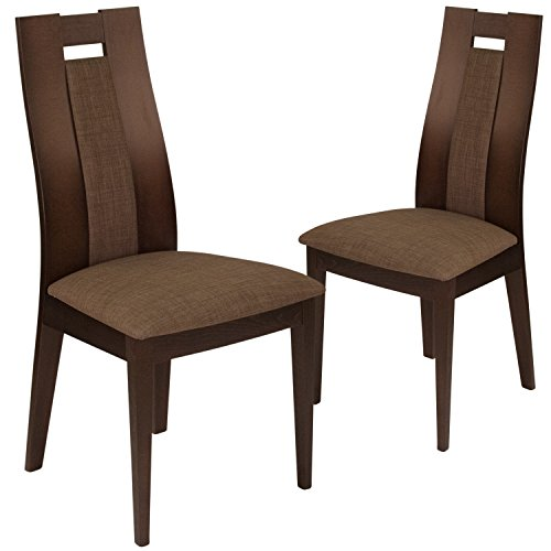 Flash Furniture 2 Pk. Almont Espresso Finish Wood Dining Chair with Curved Slat Wood and Golden Honey Brown Fabric Seat Beechwood Slat Back Kitchen Chair