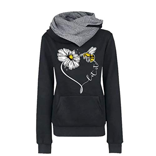 Price comparison product image COOlCCIWomen Funnel Neck Bee Flower Pullover Hoodie Top Long Sleeve T-Shirt Cowl Neck Sweatshirt Blouse with Pocket Black
