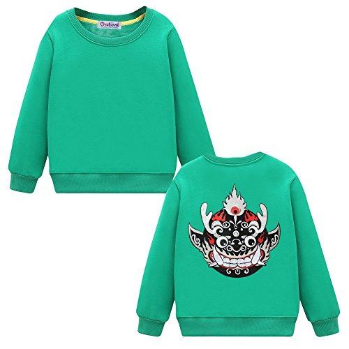 Black Temptation Kids Long Sleeve Sweatshirt for Boys or Girls Casual Pullover, Green, L
