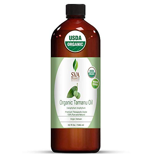 SVA Organics Tamanu Oil Organic Cold Pressed 32 Oz USDA Pure Natural Unrefined Carrier Oil for Face, Skin Care, Soap Making, Hair & Body Care