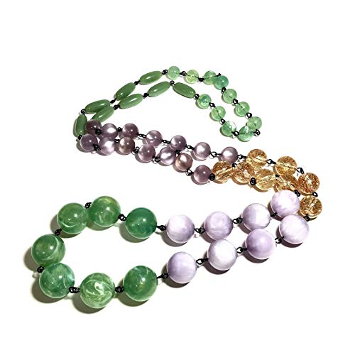 Sage Green & Lavender Rosary Chain Rope Necklace