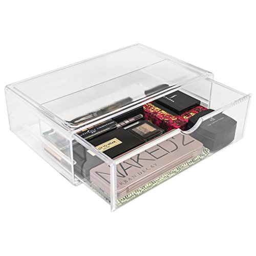 Sorbus Acrylic Cosmetics Makeup and Jewelry Storage Case X-Large Display Sets –Interlocking Scoop Drawers Create Your Own Makeup Counter –Stackable and - Interlocking Kit Display