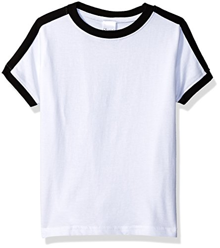 Clementine Toddler Kids Soccer Ringer Fine Jersey T-Shirt, White/Black, 3T by Clementine (Image #1)