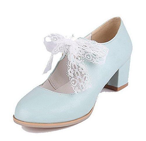 AllhqFashion Damen Mittler Absatz Rein Schnüren Weiches Material Rund Zehe Pumps Schuhe Blau