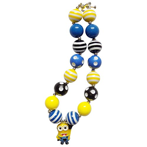 So Sydney Baby Toddler Girls Princess Chunky Bubblegum Beads Beaded Necklace (Minion Blue & Yellow)